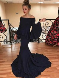 Argentina Mangas largas Sirena Vestidos de noche 2019 Elegante cuello barco Fuera del hombro Mujeres árabes Vestidos de baile Baratos Azul marino Vestidos de fiesta supplier cheap navy blue dresses for women Suministro