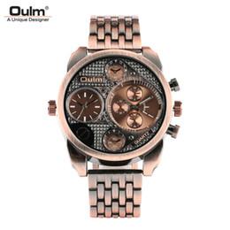 2019 oulm gold OULM Oro rosa / Bronce Hombres Wrisr Reloj Dial Grande Banda de Acero Inoxidable Diseño Único Hombre Relojes Reloj de Lujo Ocasional Masculino Hora Regalo oulm gold baratos