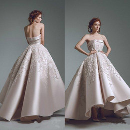 4792e8f3b88a8 2019 Ashi Studio Evening Dresses Strapless Sweetheart Lace Appliques Beaded High  Low Satin Elegant Prom Dress Plus Size Party Guest Gowns