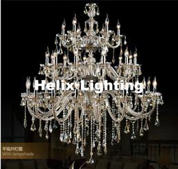 araña de lindsey adelman Rebajas Moderna grande de la escalera del hotel D1500mm H2000mm 35L lujo de cristal Champagne luz K9 de manera cristalino superior del grado K9 iluminación de la lámpara