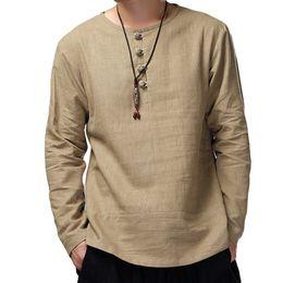 Бельё кунг-фу рубашка онлайн-New Male Vintage Retro Chinese Style Linen Shirts Men  Shirt Men Long Sleeve Slim Fit Shirt For