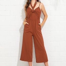 6de45e6319 Halter Jumpsuit Women Rompers Summer 2019 New Ladies Office Work Wear Overalls  For Women Wide Leg Backless Playsuit Long Pant work jumpsuits women for sale