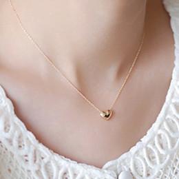 Colgante corazon estilo corazon de amor online-Nuevo estilo de las mujeres simples del corazón collares colgantes Corea diseñador de amor collares de oro rosa plateado cadena de clavícula joyería de moda