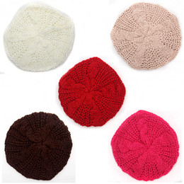 Crochet señoras gorras boina online-Moda mujer Lady Beret trenzado Baggy Beanie Crochet cálido invierno sombrero gorra de esquí de lana de punto sombrero