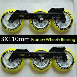 Facas de velocidade on-line-3 * 110mm grandes três rodas velocidade sapatos de skate pilha velocidade faca suporte patinagem plana sapatos de corrida rua escova faca + roda