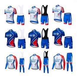2019 camisetas de ciclismo baratos Envío gratis 2019 nuevo equipo FDJ hombres ciclismo Jersey Kits verano invierno ropa de bicicleta de carretera conjunto bicicleta exterior ropa deportiva