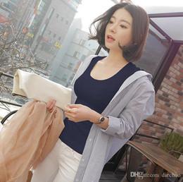 2019 modèle de chemise coréenne 2019 Modèles d'explosion Version coréenne du grand col rond Slim Solid Bottom Shirt Tops T-shirt pour femme (libre) promotion modèle de chemise coréenne