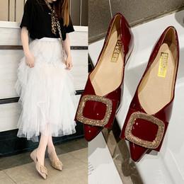 be87da2c2 Rhinestone bow único sapatos femininos 2019 verão nova net vermelho moda  selvagem fundo macio apontou boca rasa sapatos de mulher plana