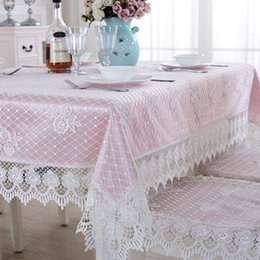 Tovaglia ricamata di lusso online-Europa di lusso tovaglia ricamata tovaglia tavolo da pranzo tessuto di pizzo tovaglia sedia cuscino posteriore set