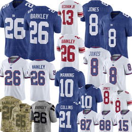 2019 87 jersey New York Giants 26 Saquon Barkley Jersey 8 Daniel Jones 10 Eli Manning Jersey 21 Collins 15 Brandon Marshall 87 Shepard Football Jerseys