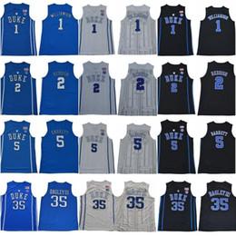 Came blanche en Ligne-Duke Blue Devils 35 Maillots Marvin Bagley III 1 Zion Williamson cousus 2 Cam rougeâtre 5 RJ Barrett Bleu Blanc Noir College Basketball
