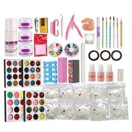 kit puder leim nägel Rabatt Pro Acryl flüssige Nail Art Pinsel Kleber Glitter Pulver Buffer Tools Set Kit Tipps