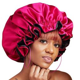 2019 botón de accesorios para el cabello Mujeres musulmanas Botón Ajustable Dormir Satén Turbante Sombrero Bonete Cáncer Gorros Gorros Casquillo del pelo Accesorios Headwrap 6 colores rebajas botón de accesorios para el cabello