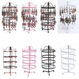 2019 rosa stand New Fahion 144 fori a quattro orecchino girevole gioielli display rack punk supporto del basamento dei monili nero bianco rosa color rame rosa stand economici