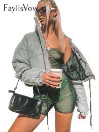 Argentina Beamer de la mujer Abrigos y chaquetas reflectantes Solid Gary Chaqueta corta de manga larga Botón con cremallera Winter Parka Mujer Tops Outwears cheap reflective winter jackets Suministro