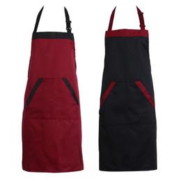 Artisanat simple en Ligne-Traiteur Plaine Anti-Encrassement Femmes Homme Cuisine Accessoires Tablier Avec Poches Boucher Artisanat De Cuisson Chefs Cuisine Cuisine BBQ