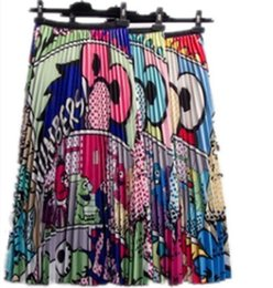 Patrón de dibujos animados europeos recién llegado de las mujeres Falda estampada plisada de alta elasticidad Estilo de la calle alta Una línea Vestidos cortos Tallas grandes Ropa S-2XL desde fabricantes