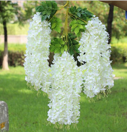 ornamento do jardim de flor de lótus Desconto Wisteria vinho Elegante Flor De Seda Artificial Wisteria Vine Rattan Para O Centro De Casamento peças Decorações Bouquet Garland
