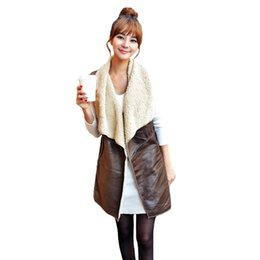 long suede vest Coupons - Winter Fashion Fleece Long Vest female Waistcoat Women Vest Coat Suede Faux Fur Lapel Sleeveless Jacket Outerwear Coffee