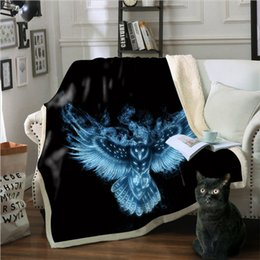 manta ignífuga Desconto Blanket camisola 3D Impresso animal Águia Series Multi-purpose cobertor cobertores de lã retardador de chamas Wearable