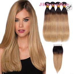 2019 34-дюймовый блондинка индийские волосы 1B мед блондинка прямые бразильские девственные пучки волос 4шт с 4x4 дюйма кружева закрытия темный корень мед блондинка малайзийский Индийский волос утки дешево 34-дюймовый блондинка индийские волосы