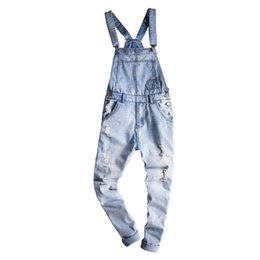 Мужские комбинезоны онлайн-Mcikkny Fashion Men's Ripped Hip Hop Denim Bib Overalls Slim Fit Casual Streetwear Jumpsuits For Male Suspender Pants Washed