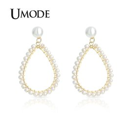 big drop pearl earrings Promo Codes - UMODE Big Gold Water Drop Earrings for Women Korean Pearl Dangle Earrings Hanging Gift Fashion Jewelry Accessories UE0504