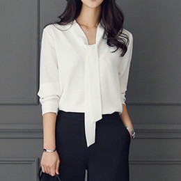simple woman style clothing Coupons - Zebery Tie Collar Simple Business Style Blouse Shirt Long Sleeve Woman High Quality Shirt Microfiber Tops Office Clothes Woman