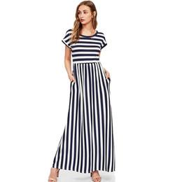 Vestidos de ebay online-Los europeos y los estadounidenses venden el vestido sin mangas de cuello redondo estampado a rayas con explosivos transfronterizos de ebay, 5 colores y 4 yardas