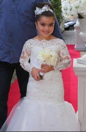 robe basse de l'eau des filles Promotion 2019 blanc dentelle appliques robes fille de fleur pour le mariage avec sirène perlée belle manches longues robes de première communion