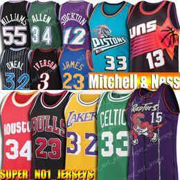 Camisetas de baloncesto 33 online-Retroceso 23 Jersey Michael Allen Iverson 3 Larry Bird 33 Steve Nash 13 32 Subvención Johnson, Shaquille ONeal Colina Stockton jerseys del baloncesto