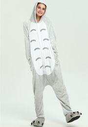 Mono totoro online-Totoro niños Adultos Animal Onesie Mujeres Hombres Ropa de dormir Pijamas de franela de invierno Unisex Onepiece Cosplay mono KD-068