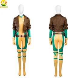 Benutzerdefinierte lederjacken männer online-X-Men Rogue Cosplay Superheld Rogue Lederjacke Jumpsuit Halloween-Kostüme für Frauen Individuelle MadeMX190923