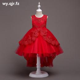 De Bh584r Cordón Del Arco Corto Rojo De La Flor Blanca Niña Vestidos De Los Niños De Cola De Pescado Del Vestido De Boda Vestido De Fiesta Vestido