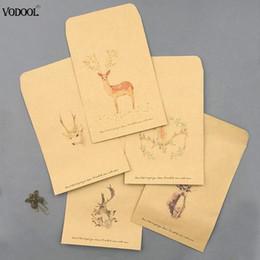 4 unids Vintage Deer Paper Envelope Cute Mini sobres saludos para tarjeta de visita Scrapbooking papelería regalos desde fabricantes