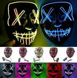 Halloween Maschera LED L Filo d'ardore mascherina del fantasma lampeggiante maschera per Halloween Spaventoso Cosplay del partito di travestimento luminoso DHL da