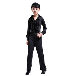 Детская одежда для детей онлайн-2019 Children Latin Dance Costume Boy Latin Dance Competition Clothes Professional Tango Rumba Samba Cha Cha Shirts Pants