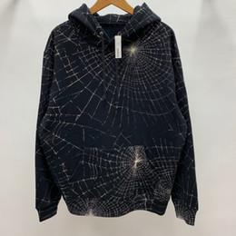 Magliette felpate da uomo di ragno online-16AW BOX LOGO Spider Web Felpa con cappuccio Uomo Donna Balck Felpe con cappuccio Fashion Highstreet HFLSWY330
