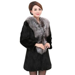 mink jackets fox collars Promo Codes - Large sizes 6XL mink coat with fur for women winter warm jacket women coat with faux fur female Fox jacket collar AS900
