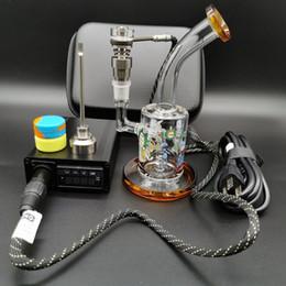 sacchetto di silicone di alta qualità Sconti Enail Dnail kit di tamponare elettrica e chiodo bobina di riscaldamento Titanio / quarzo ibrido chiodo con Rick Morty vetro bong DHL