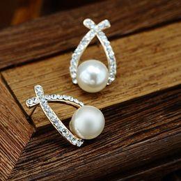 corea 14k de oro Rebajas Pendientes de cristal de perlas de estilo de moda Pendientes de aleación de diamantes de imitación austríacos pavimentados para mujeres Declaración de regalo Joyería fina