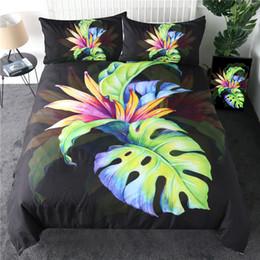 set biancheria da letto di uccelli Sconti Tropical copripiumino Verde Foglia Bedding Set Bird of Paradise Quilt Cover Strelitzia Reginae Copriletti Aiton