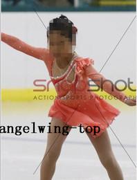 competizioni di pattinaggio su ghiaccio delle ragazze Sconti Rosa Figure Skating Abiti ragazze Gara di pattinaggio su ghiaccio veste il vestito su misura per le donne di ghiaccio Figura Dress N43