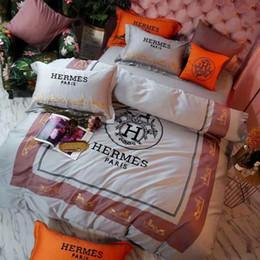 set biancheria da letto in cotone egiziano viola Sconti Vendita calda 4 PZ Colorful Bedding Set Design di Lusso Lettera H Poliestere Colori Lenzuolo Regina King Size Moda Cuscino Copripiumino