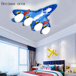 2019 lampada blu ragazzo Nuovo creativo blu soffitto del soffitto del velivolo lampada bambini camera da letto ragazzo camera da letto luci moderna lampada a LED combattente del fumetto lampada blu ragazzo economici