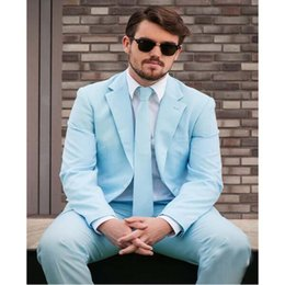 c1658290c44b Two Buttons Groomsmen Suits Baby Blue Men Tuxedos Notched Lapel Wedding  Prom Best Man Bridegroom Two Pieces (Jacket + Pant)