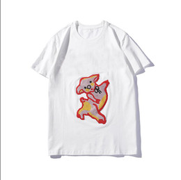 pig t shirts Promo Codes - 2019 Summer T Shirts With Letters Brand Shirt Mens Clothing Tops Fashion Tide Streetwear Pig Embroideried Tee Size M-2XL