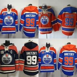 barato qualidade hoodies Desconto Venda quente Mens Edmonton Oilers 99 Wayne Gretzky Vermelho Azul Preto Melhor Qualidade Barato 100% Logotipo Do Bordado Hóquei No Gelo Hoodies Aceitar Ordem Da Mistura