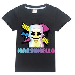 Los mejores juegos de dibujos animados online-Máscara de dibujos animados Dj Marshmello Niños 100% algodón Camisetas Ropa para bebés Bobo Tops 2019 Juego Camisa Quincenios Disfraces Y19051003