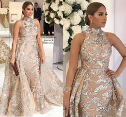 2019 vestido de celebridade de luva de capa de comprimento de chá Luxo Decatável Apliques Sereia Formal Vestidos de Noite 2019 Yousef Aljasmi Dubai Árabe Alta Neck Plus Size Ocasião Prom Party Dress